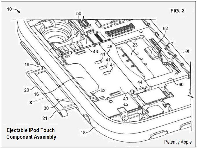 FIG 2 ejectable ipod touch component assembly