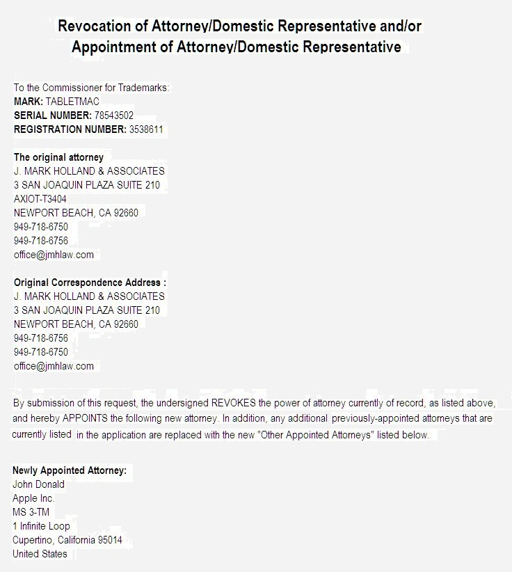 4 - USPTO Revocation of Attorney and-or Appointment of Attorney - re TabletMac