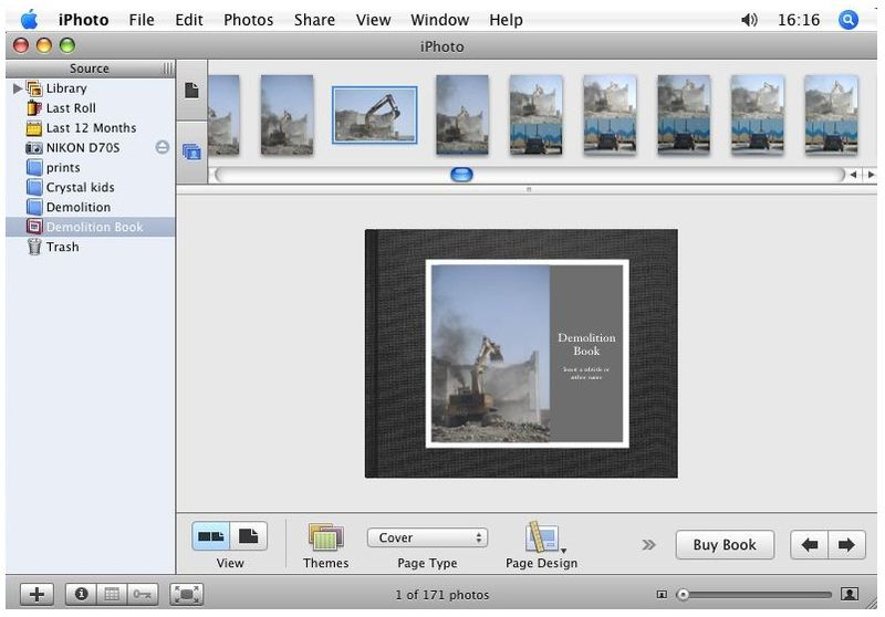 Iphoto - created demolition book