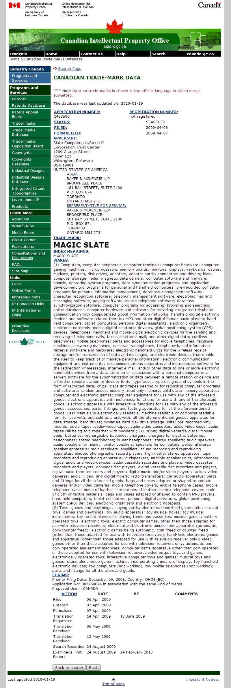 Magic Slate - Canadian trademark filing