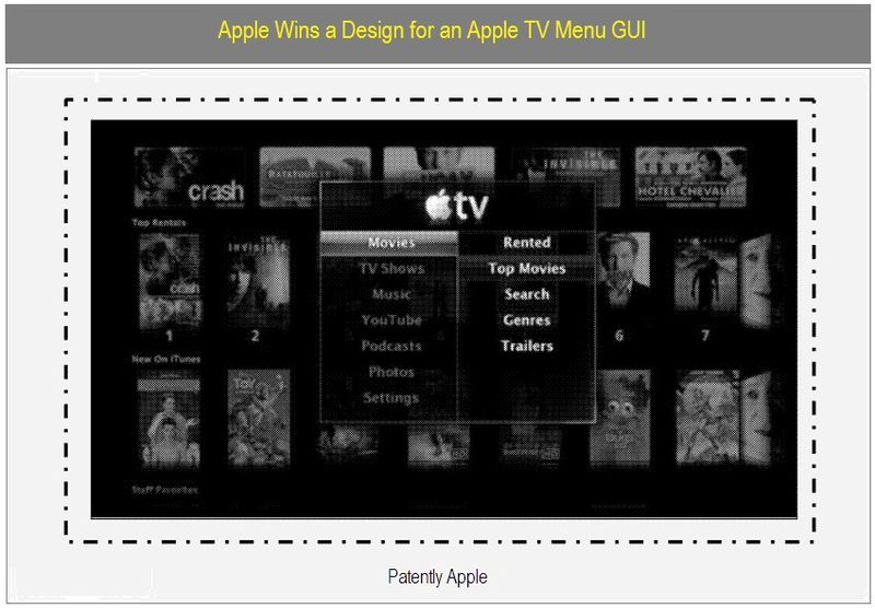 APPLE TV MENU GUI DESIGN PATENT FEB 2010