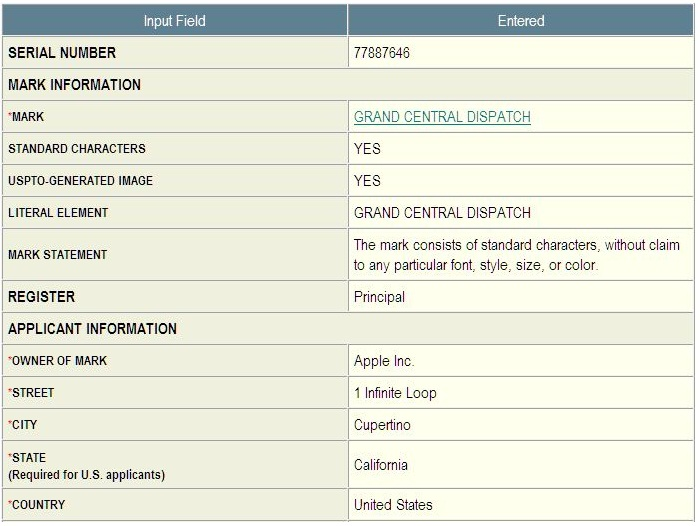 Apple trademark filing Grand Central Dispatch Dec 2009
