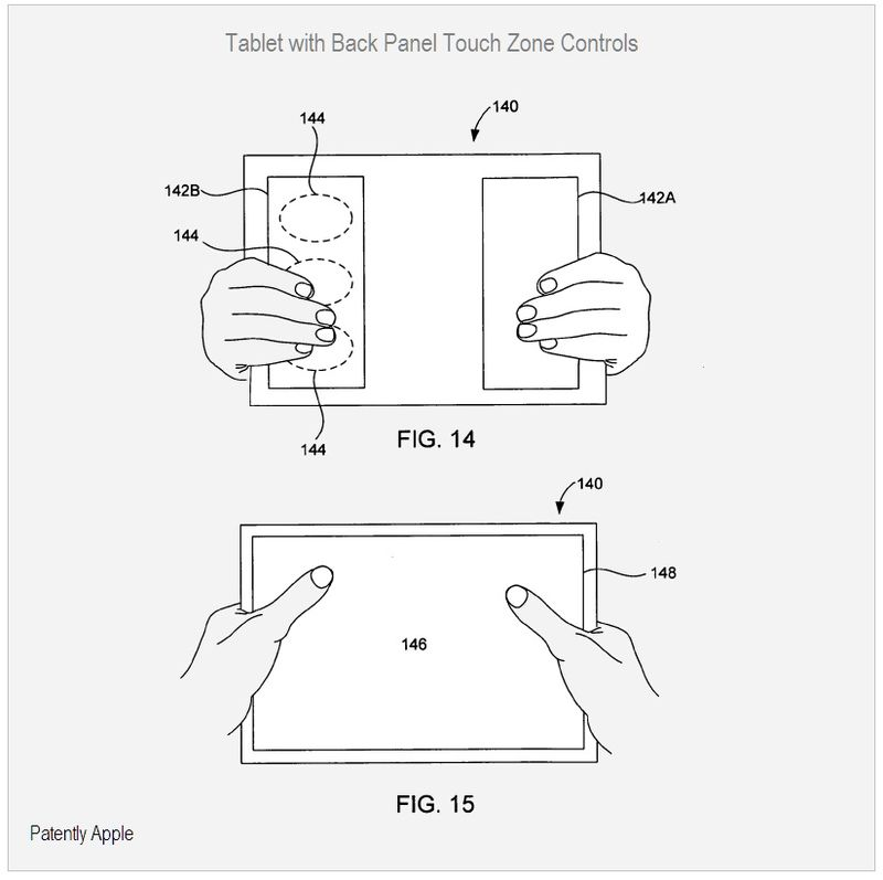 Tablet, Back Panel Touch Zone Controls