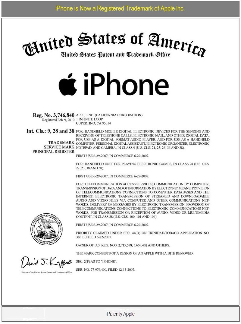 IPhone Registered Trademark of Apple Inc, Feb 10, 2010