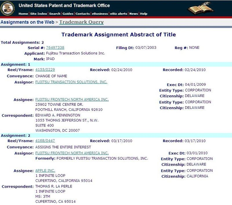 USPTO - ABREVIATED DOC OF ASSIGNMENT