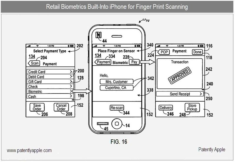 3 - BIOMETRIC FINGER SCANNER ON IPHONE - NFC, FIG 16