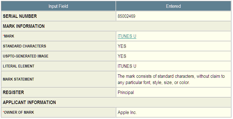 2 - Apple iTunes U trademark application 85002469