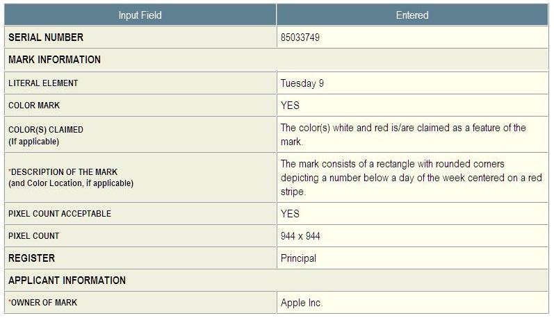2 - Apple application for CALENDAR TM