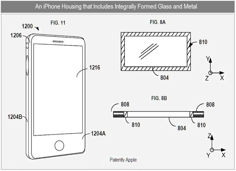 3 - Apple Inc, iphone houseing using integrally formed glass and metal, figs 8a, b & 11
