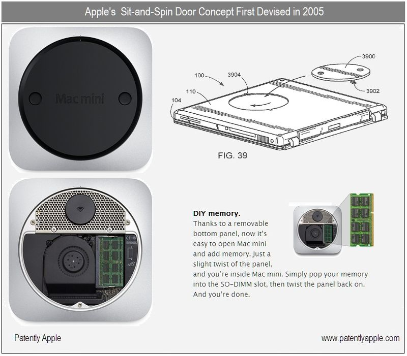 2 - Apple Inc, Sit-and-Spin Door first devised in 2005 patent - june 2010 on mac mini