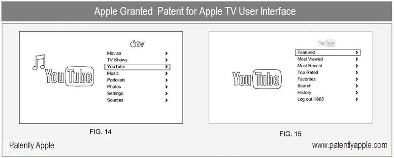 2 - Apple Inc, Apple TV GUI granted patent, FIGS 14 & 15