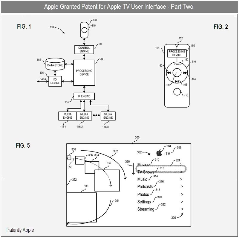 3c - Apple Inc, Apple TV UI granted patent 2, FIGS 1, 2 & 5
