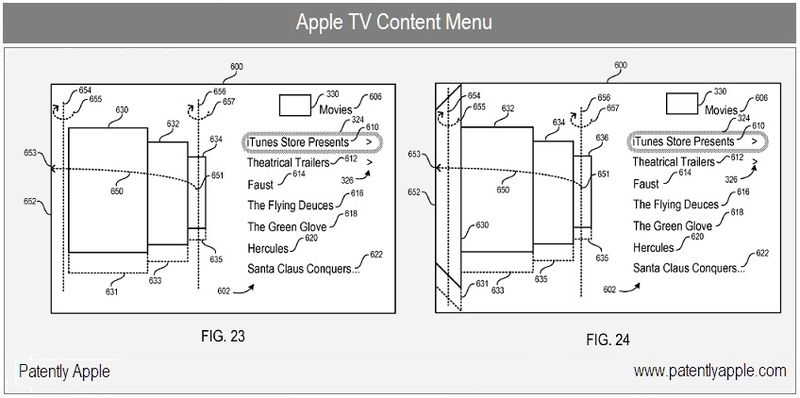 3 - Apple Inc, Apple TV content menu figs 23, 24