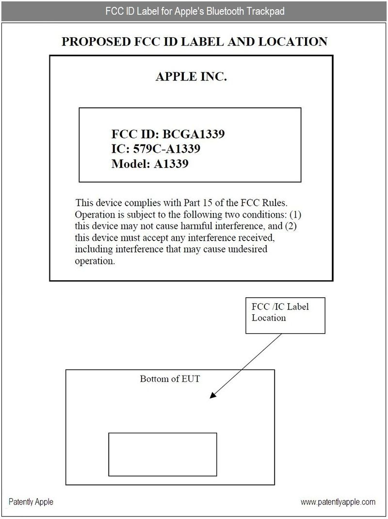 4 - Apple's Trackpad FCC ID label information