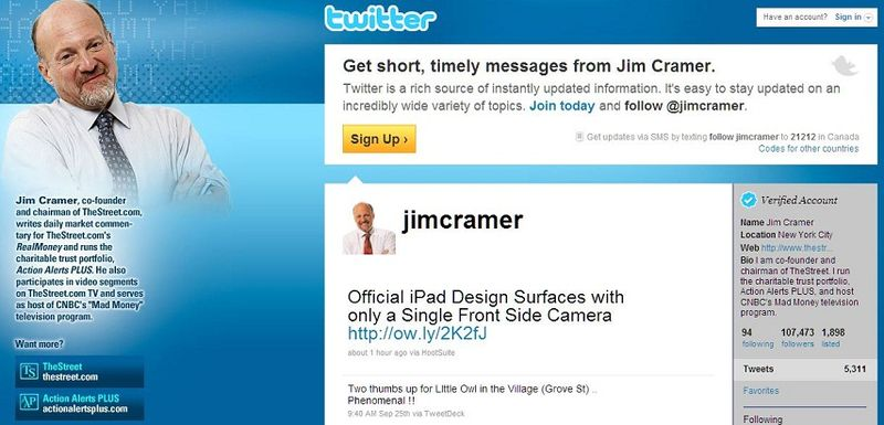 UPDATE GRAPHIC - Jim Cramer, Sept 26, 2010