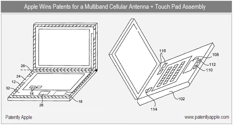 1 - Cover - multiband cellular antenna + touch pad assembly for notebook granted patents sept 2010