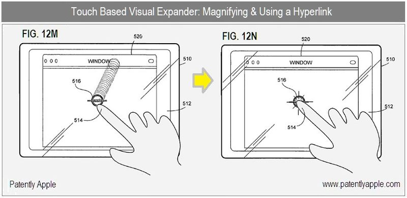 3 - Apple Granted Patent for Visual Expander - fig 12m, n magifying & using a hyperlink