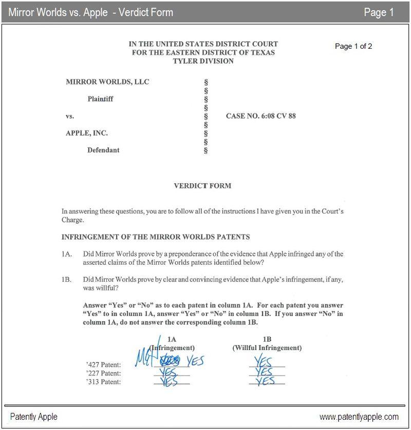 2 - Mirror Worlds vs. Apple Verdict form  Page 1