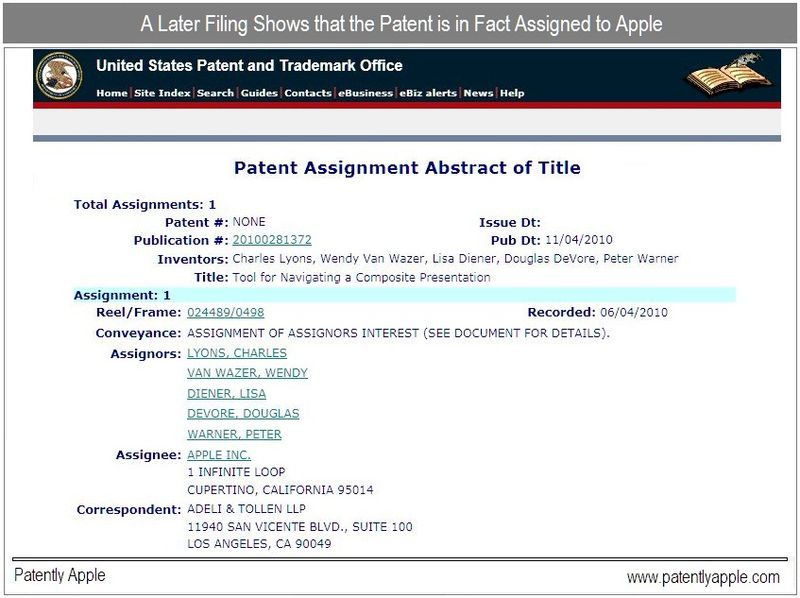 UPDATE ASSIGNMENT NOTE, APPLE PATENT