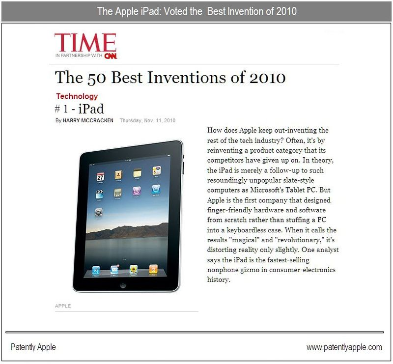 Bonus Graphic - The Apple iPad - voted the best invention of 2010 by TIME magazine - nov 2010