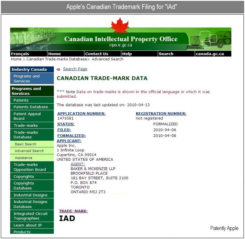 2 - Apple's Canadian Trademark filing for iAd