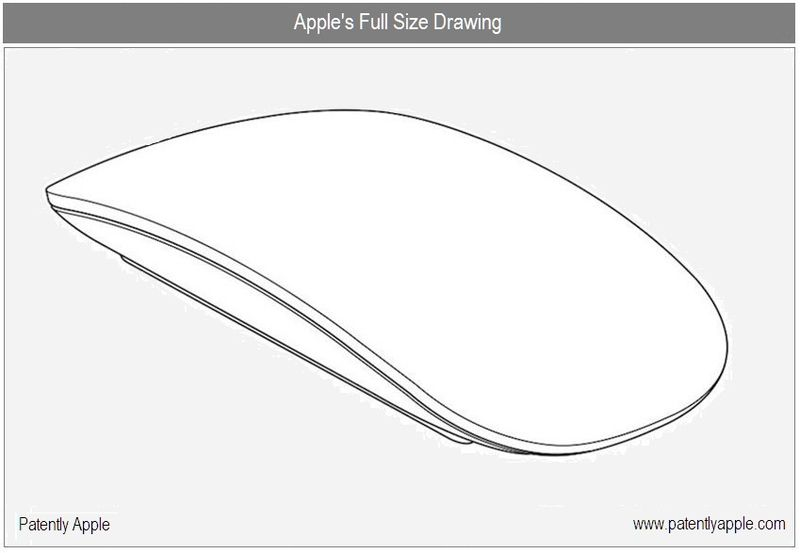 3 - Apple's full size Drawing - Magic Mouse