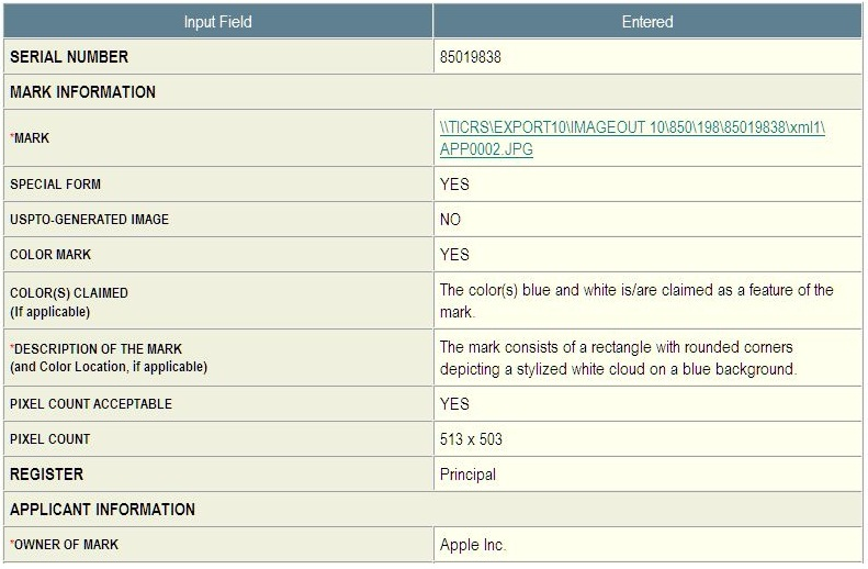 2 - MobileMe iDisk icon trademark application