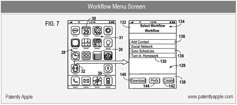 5 - iPhone Workflow Main Menu - A New Social Workflow Patent from Apple Highlights Facebook