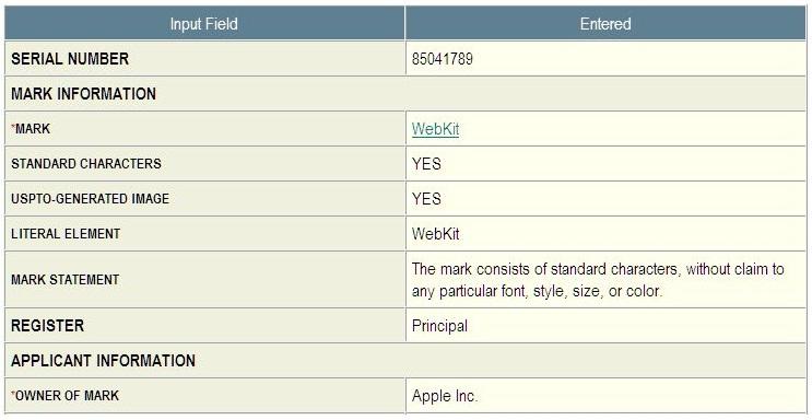 2 - Webkit TM - Apple Inc application in-part