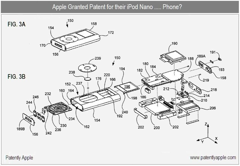 2 - Apple Inc, Granted patent for iPod Nano assembled, unassembled figs 3A, B