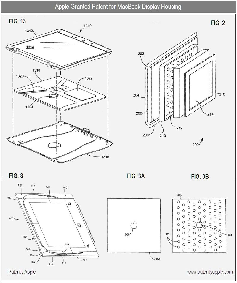 6 - Apple Inc Granted Patent for MacBook Display Housing, figs 2, 3a,b, 8 & 13