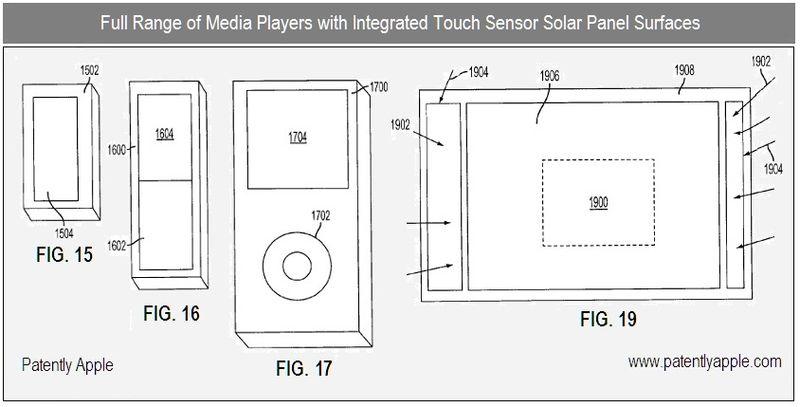 2 - Apple Inc, Full range of Media Players with solar panel integration - figs 15, 16, 17, 19