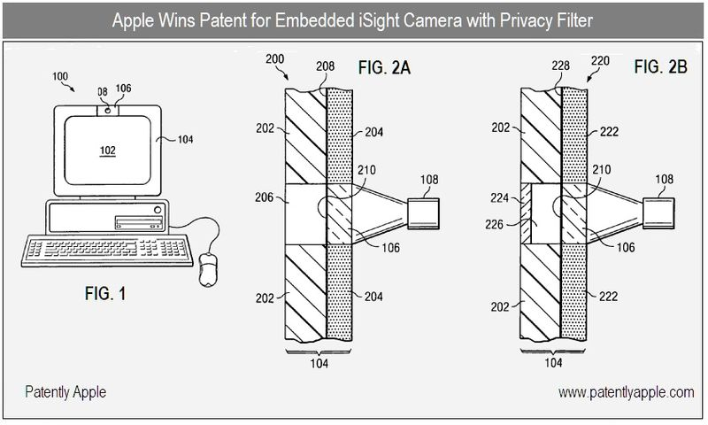 2 - Apple Inc, embedded iSight camera with privacy filter patent win, figs 1, 2a,b