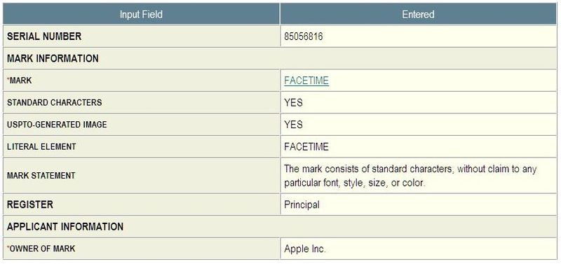 2 - Apple Inc, FaceTime Trademark Application in-part June 11, 2010