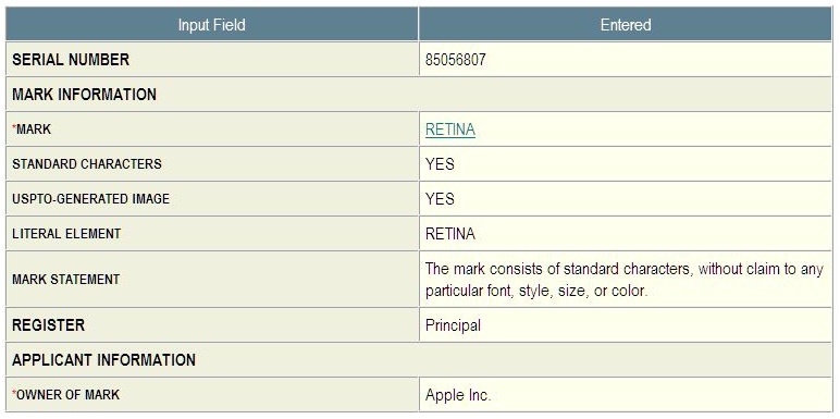2 - Apple Inc, Retina Trademark application in-part 807, June 11, 2010