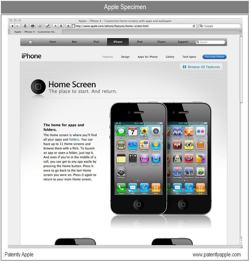 4 - TRADEMARK SPECIMEN FOR HOME SCREEN - IPHONE 4
