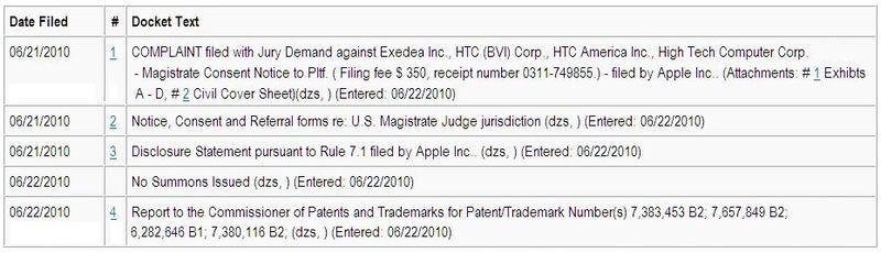 Document Trail Apple vs HTC June 2010