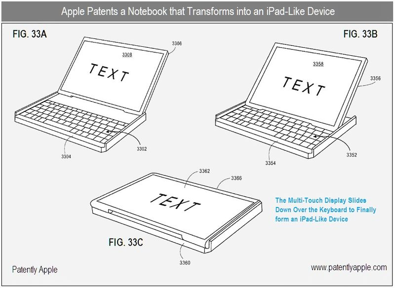 3 - Apple patent - Notebook that transforms into an iPad-like device figs 33a, b, c - v2