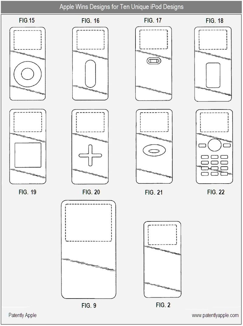 2 - Apple Granted Patent for 10 unique iPod Designs -