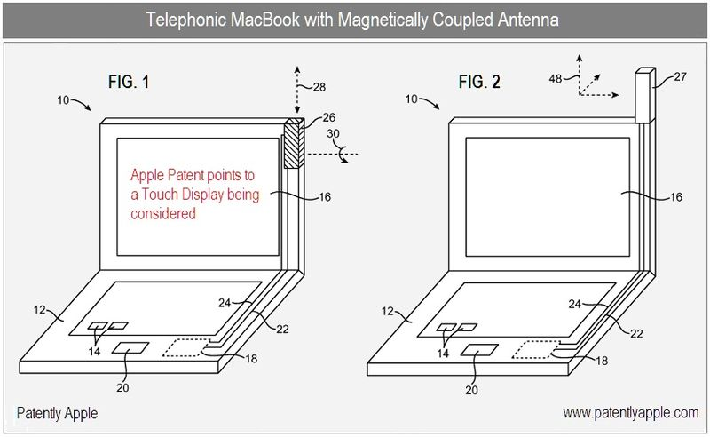 2 - Apple Inc, The Telephonic MacBook with magnetically coupled antenna, figs 1, 2
