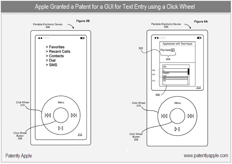 5 - Apple - GUI for text entry using a click wheel