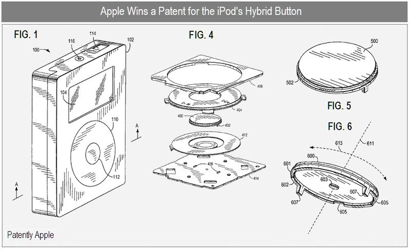 4 - Apple wins patent for the iPod's hybrid button sept 2010