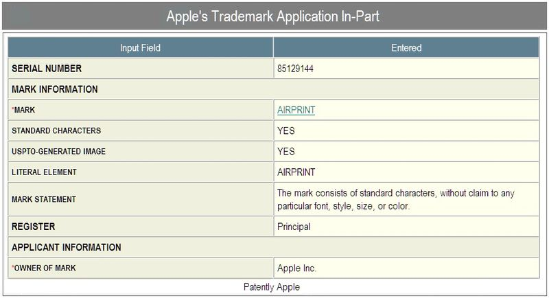 2b - Apple Trademark - Application In-Part - AirPrint - sept 18, 2010
