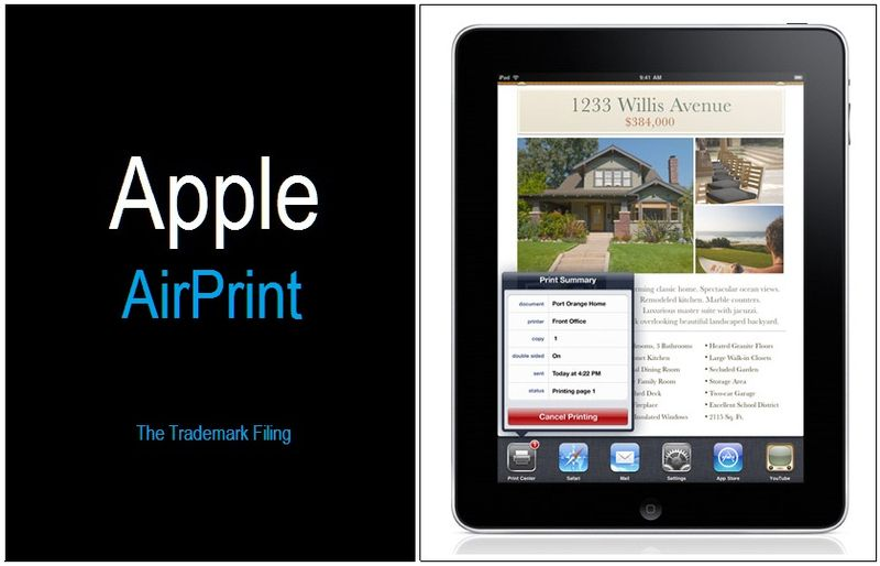 1 Cover - Apple AirPrint - trademark filing - Sept 18, 2010