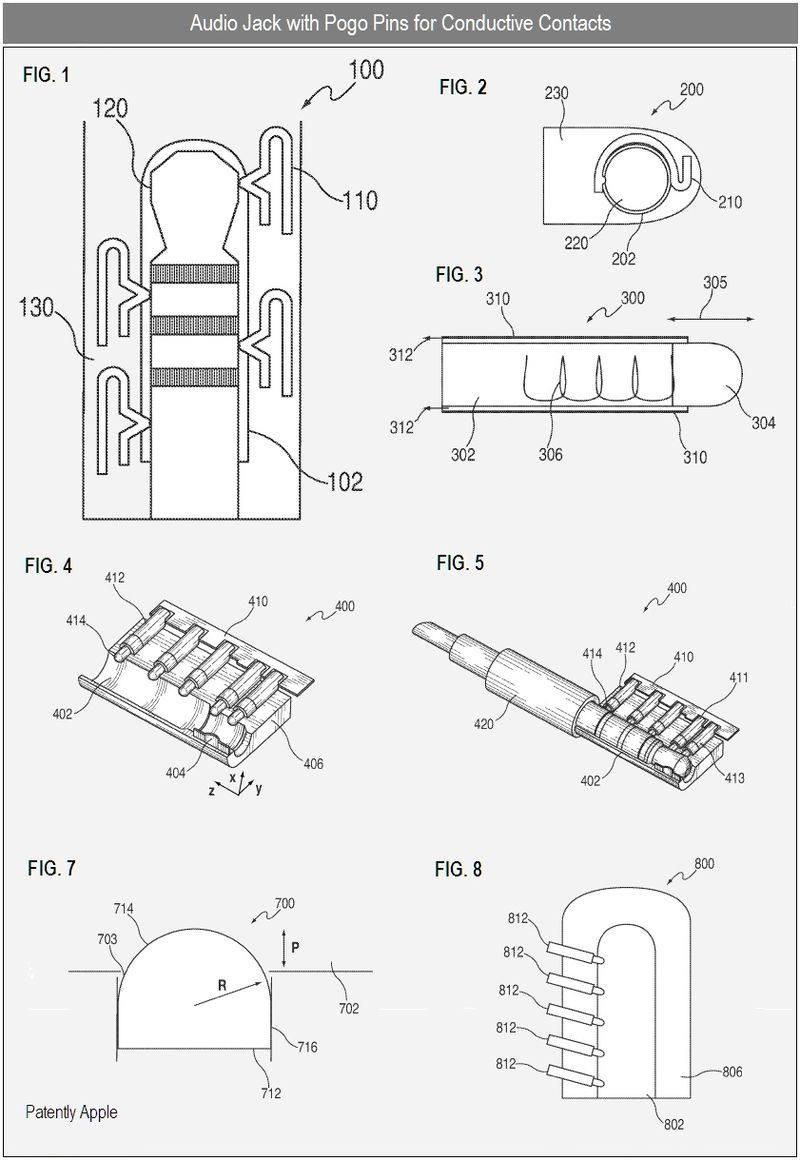 2 - Apple, Audio Jack with Pogo Pins for Conductive Contacts - patent figures, 1,2,3,4,5,7,8
