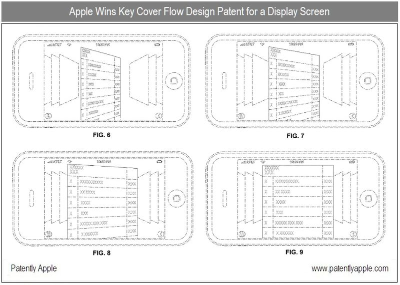 2 - Cover Flow Design Patent win for display screen, iPhone, Apple Inc, Oct 2010