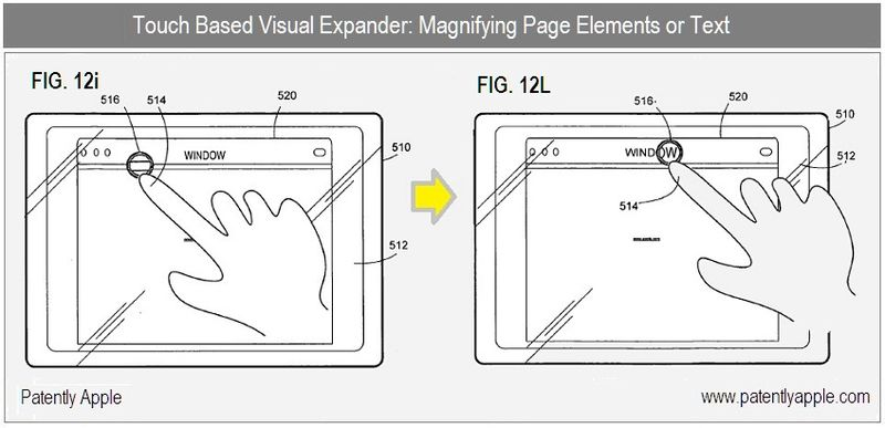 5 - Apple Granted Patent - Visual Expander - magnifying page elements or Text