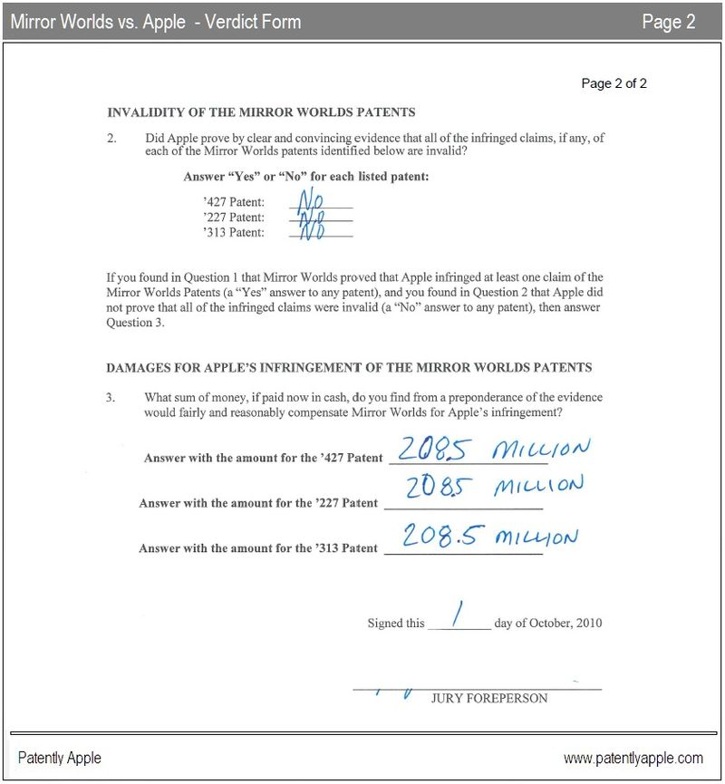 3 - Mirror Worlds vs. Apple - verdict form page 2