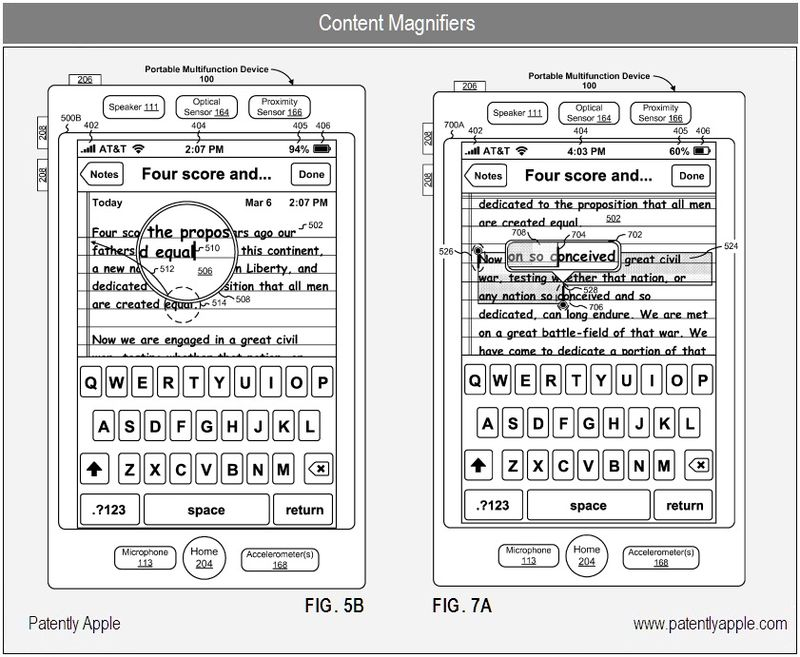 4 - apple inc patent, cut and paste, content magnifiers