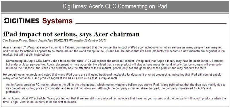 DIGITMES - ACER CEO ON IPAD - OCT 20, 2010